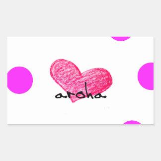 Pegatina Rectangular Lengua maorí del diseño del amor