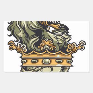 Pegatina Rectangular león del vintage en el cráneo muerto
