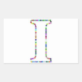 Pegatina Rectangular Letra I de la estrella del arco iris