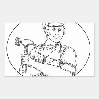 Pegatina Rectangular Línea del martillo del carpintero del vintage mono