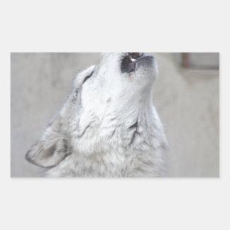 Pegatina Rectangular Lobo gris del grito