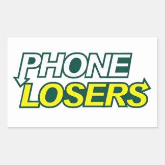 Pegatina Rectangular Los perdedores del teléfono comen a la derecha