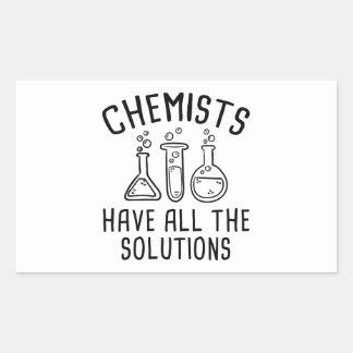 Pegatina Rectangular Los químicos tienen todas las soluciones