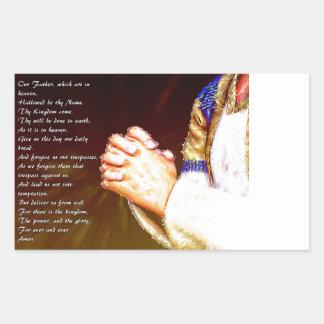 Pegatina Rectangular Los señores Praying Hands