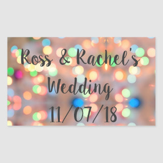 Pegatina Rectangular Luces románticas y festivas que se casan/pegatinas