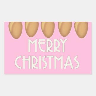 Pegatina Rectangular Luces rosadas del oro de las Felices Navidad