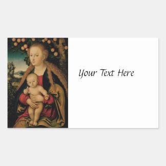 Pegatina Rectangular Madonna y niño de Cristo debajo del manzano