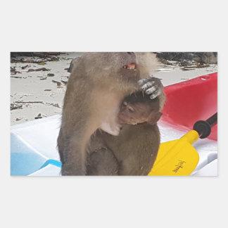 Pegatina Rectangular Madre y bebé del mono
