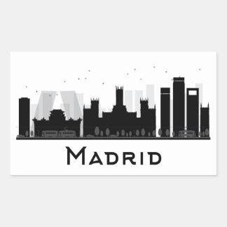 Pegatina Rectangular Madrid, España horizonte negro y blanco del | de