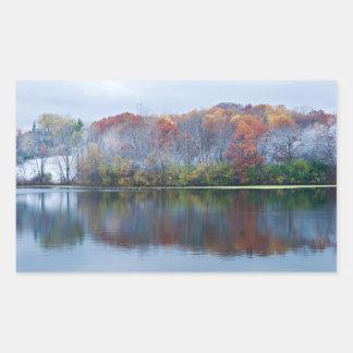 Pegatina Rectangular Mañana del otoño Nevado del parque de Marthaler