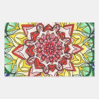 Pegatina Rectangular Mandala del arco iris