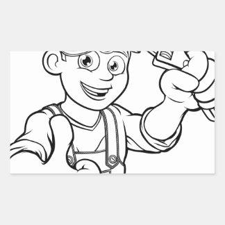 Pegatina Rectangular Manitas del mecánico o del fontanero con el dibujo