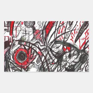 Pegatina Rectangular Manos del dibujo de la pluma de la rabia