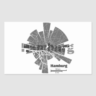 Pegatina Rectangular Mapa de Hamburgo