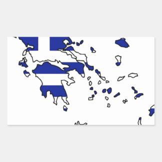 PEGATINA RECTANGULAR MAPA DE LA BANDERA DE GRECIA