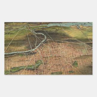 Pegatina Rectangular Mapa de Newark 1916