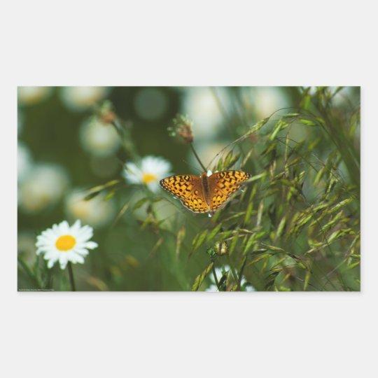 Pegatina Rectangular Mariposa pacífica del Fritillary
