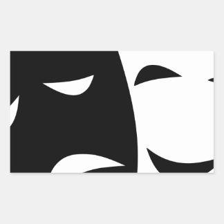Pegatina Rectangular Máscara de la comedia y de la tragedia