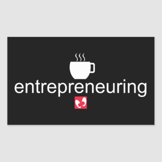 Pegatina Rectangular Mayniax que califica el negro de Entrepreneuring
