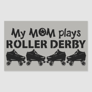 Pegatina Rectangular Mi mamá juega el rodillo Derby, patinaje sobre