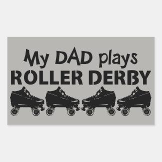 Pegatina Rectangular Mi papá juega el rodillo Derby, patinaje sobre