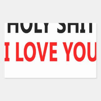 Pegatina Rectangular Mierda santa te amo (1)
