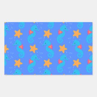 Pegatina Rectangular Modelo azul de los Seahorses y de las estrellas de