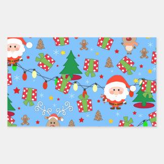 Pegatina Rectangular Modelo de Santa y de Rudolph