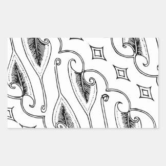 Pegatina Rectangular Modelo indonesio de la materia textil de la hoja