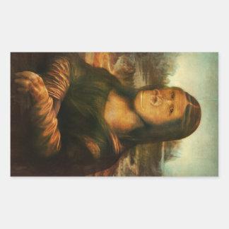 Pegatina Rectangular Mona Rilla aka Mona Lisa