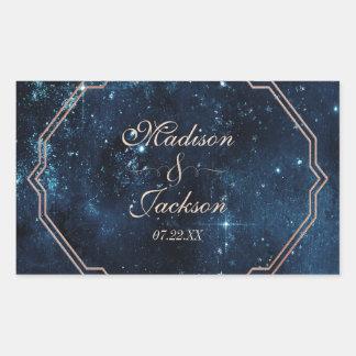 Pegatina Rectangular Monograma celestial del boda de la galaxia del