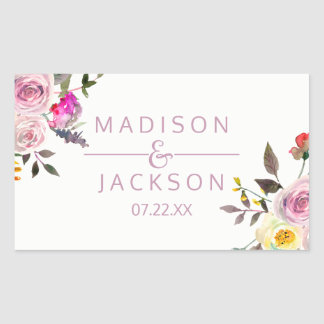 Pegatina Rectangular Monograma floral del boda de la acuarela color de