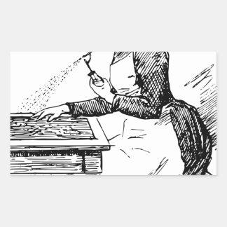 Pegatina Rectangular Mujer que usa el aerógrafo viejo