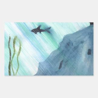Pegatina Rectangular Natación del tiburón