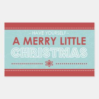 Pegatina Rectangular Navidad azules modernos del rectángulo Felices
