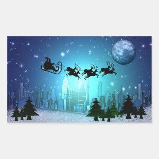 Pegatina Rectangular Navidad de la pista en la ciudad
