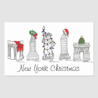 Pegatina Rectangular Navidad del día de fiesta de las señales del
