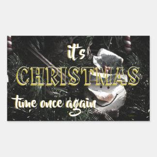 Pegatina Rectangular Navidad del muñeco de nieve