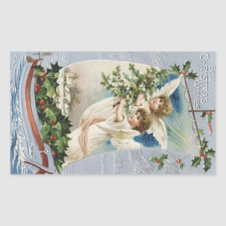 Pegatina Rectangular Navidad del vintage, ángeles del Victorian en un