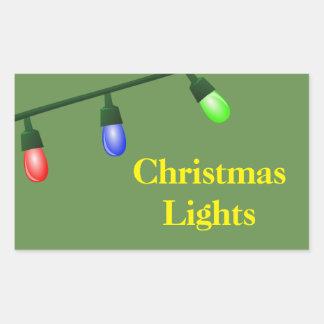 Pegatina Rectangular Navidad que organiza las etiquetas - luces