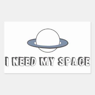 Pegatina Rectangular Necesito mi espacio