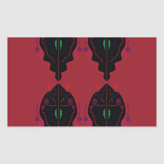 Pegatina Rectangular Negro rojo de los ornamentos de lujo