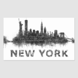 Pegatina Rectangular New York Dark-White Skyline v07