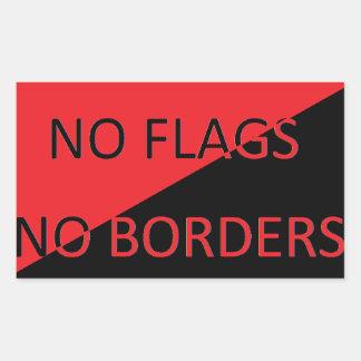 Pegatina Rectangular Ningunas banderas ningunas fronteras