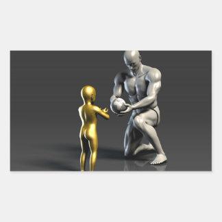 Pegatina Rectangular Niño de enseñanza del padre como concepto en 3D