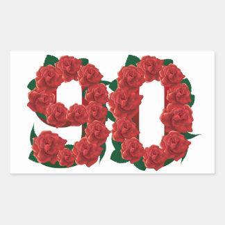 Pegatina Rectangular Número rosas rojos de 90 o 90.os cumpleaños