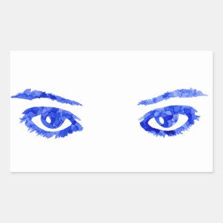 Pegatina Rectangular Ojos azules