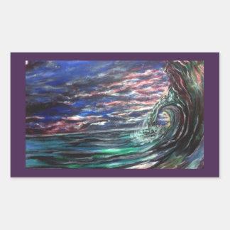 Pegatina Rectangular onda de la playa