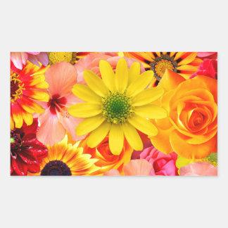 Pegatina Rectangular Orange flowers_ Gloria Sanchez