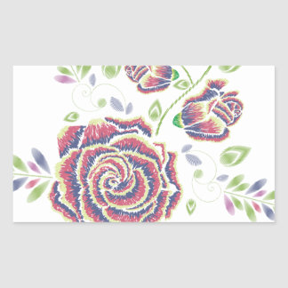 Pegatina Rectangular Ornamento color de rosa púrpura del bordado